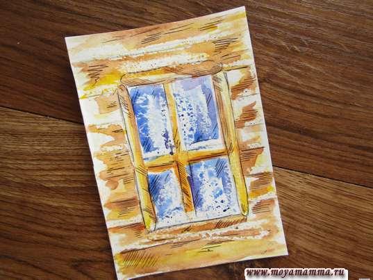 Рисунок зимнего окна