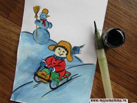Рисунок зимние игры. Использование черной гуаши