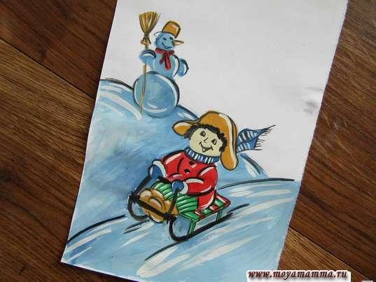 рисунок зимние игры