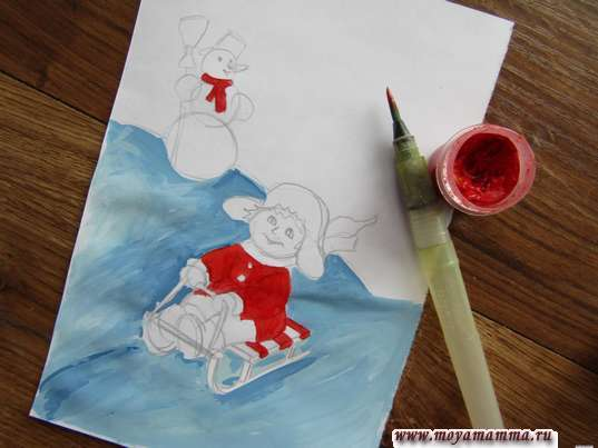 Рисунок зимние игры. Красную гуашь для многих деталей рисунка