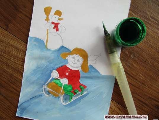 Рисунок зимние игры. Рисование зеленой гуашью