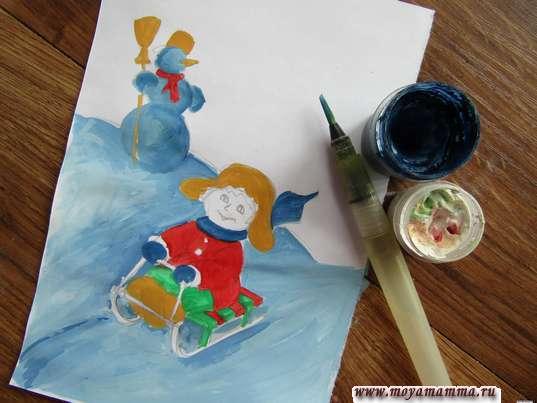 Рисунок зимние игры. Шарф и варежки синей гуашью