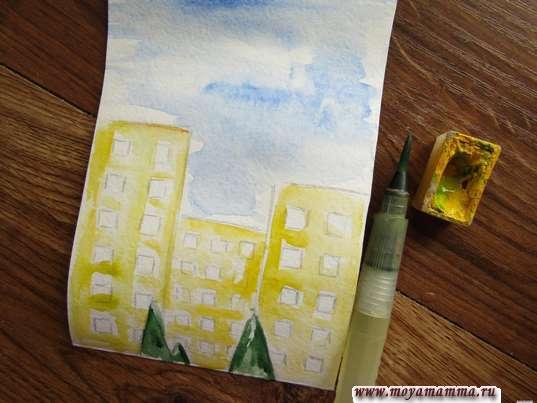 Рисование желтой акварелью