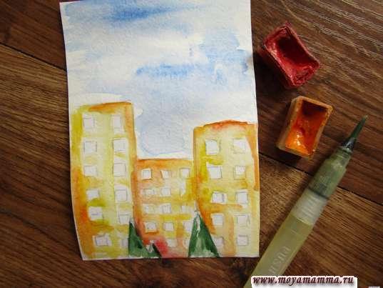 Рисование желтой и красной акварелью