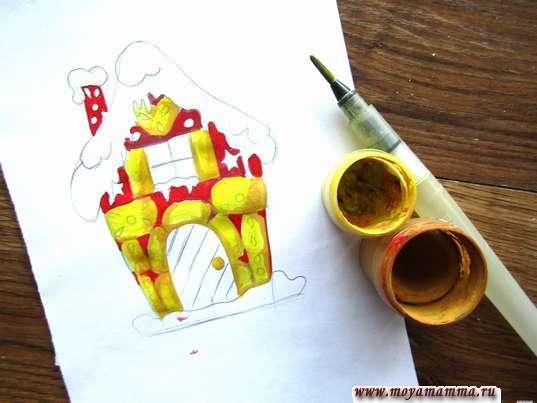 Кирпичики, дверная ручка и ставни для окна желтыми и светло-коричневыми тонами