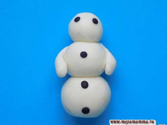 Глаза и пуговки на снеговике