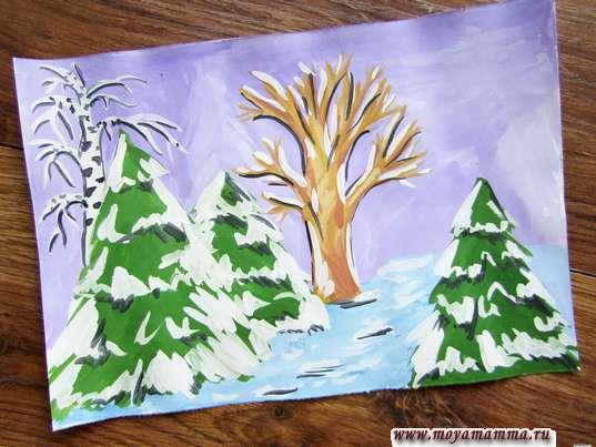 Зимний лес гуашью