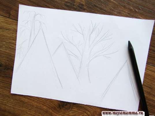 Набросок елок с деревьями