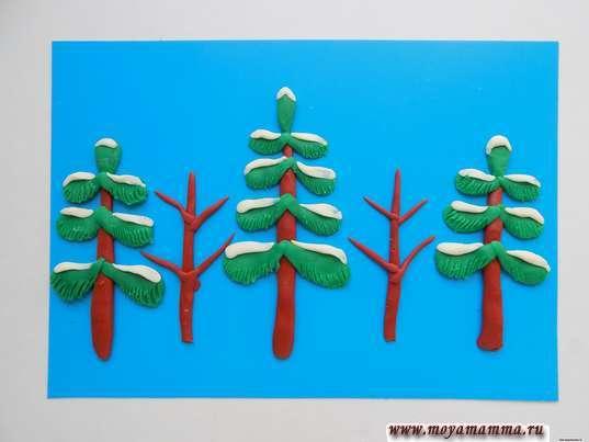 """Добавление """"снега"""" на елки"""