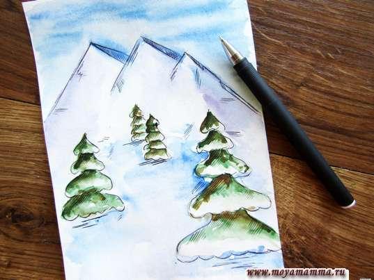 Прорабатывание рисунка гелевой ручкой
