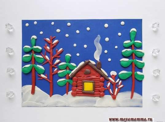 Зимний пейзаж из пластилина