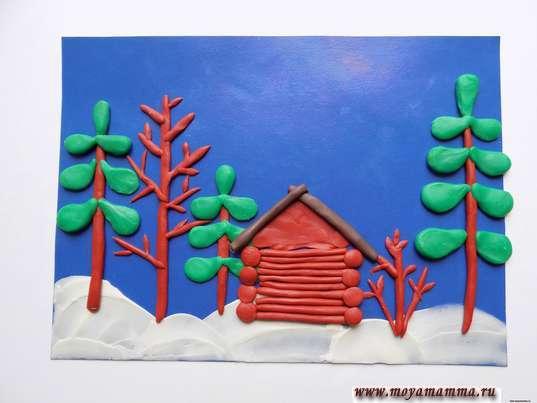 Зимний пейзаж из пластилина. Изготовление крыши домика