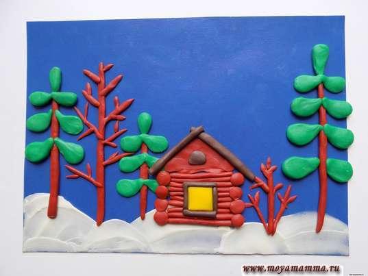 Зимний пейзаж из пластилина. Окошко из квадратика желтого цвета