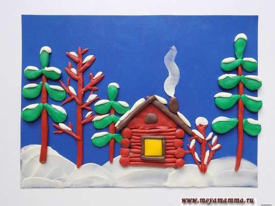 Зимний пейзаж из пластилина. Изготовление снега на крыше дома и деревьях