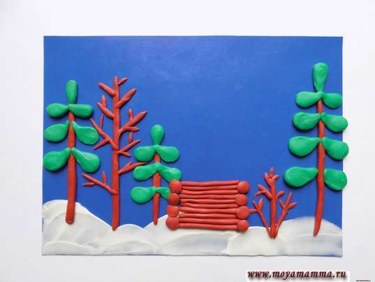 Зимний пейзаж из пластилина. Оформление боков домика
