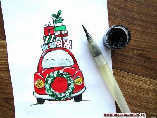 Зимний рисунок Машина с подарками. Прорабатывание рисунка черной гуашью