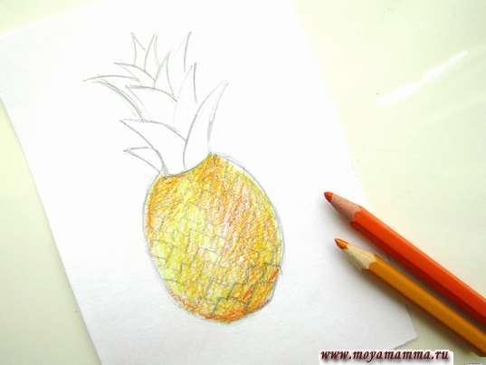 Закрашивание ананаса желтым цветом