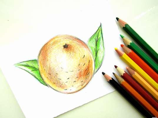 Апельсин карандашами