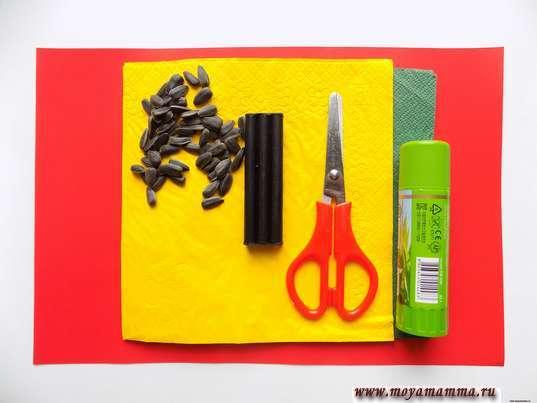 Салфетки, семечки, ножницы, клей, красный картон