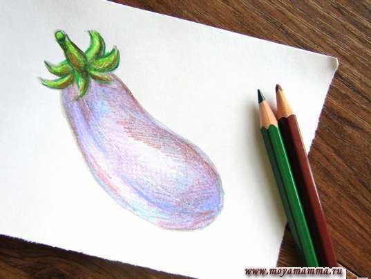 Баклажан карандашами. Прорисовывание листочка