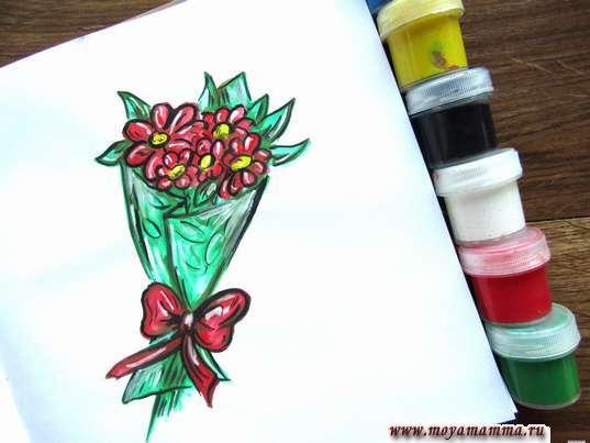 букет цветов гуашью