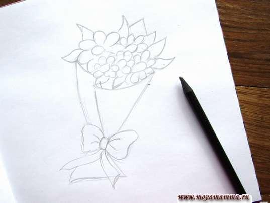Готовый набросок букета цветов