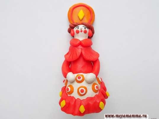 Дымковская игрушка Барышня из пластилина