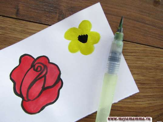 Рисование середины цветка