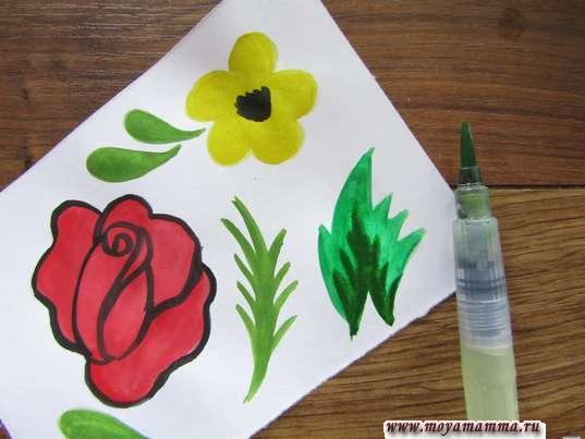 Сложнй лист двумя оттенками зеленой краски