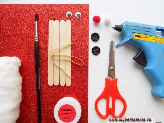 Материалы для изготовления елочной игрушки из деревянных палочек