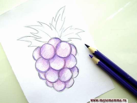 Дополнение рисунка фиолетовыми тонами