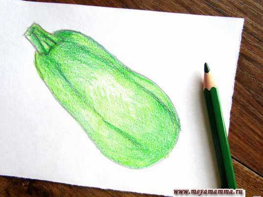 Объем темно-зеленым карандашом