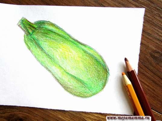 Рисование желтым и коричневым карандашами