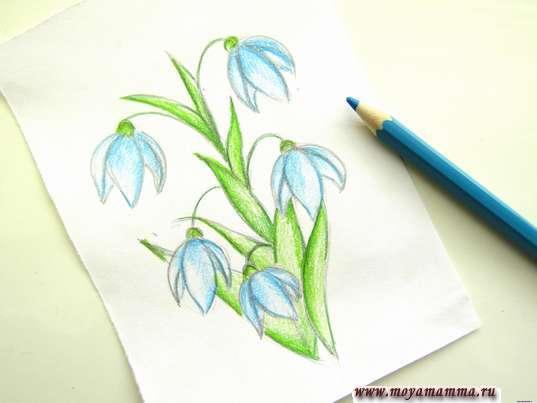 Закрашивание голубым карандашом