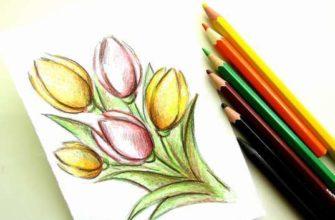 нарисовать весенний букет