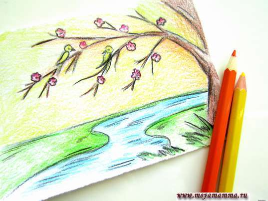Как нарисовать весну карандашами. Раскрашивание неба