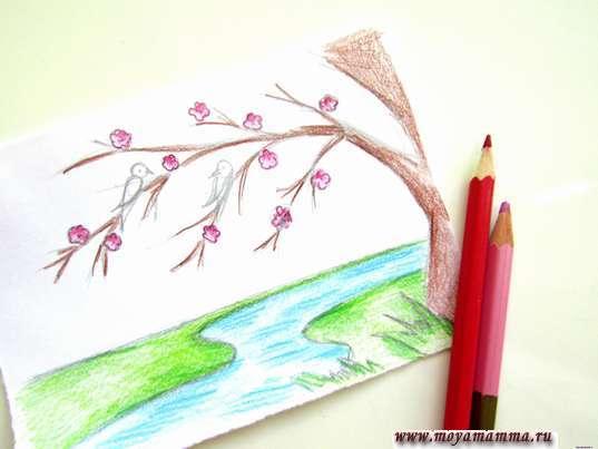 Весенние цветочки розовым цветом