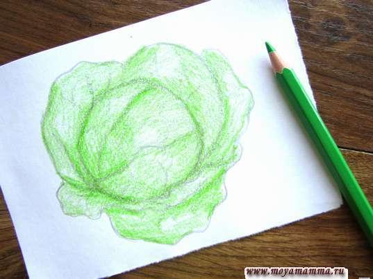 Закрашивание светло-зеленым цветом