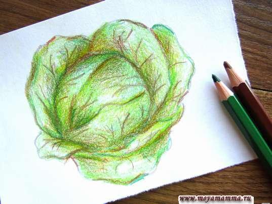 Рисование темно-зеленым и коричневым цветом