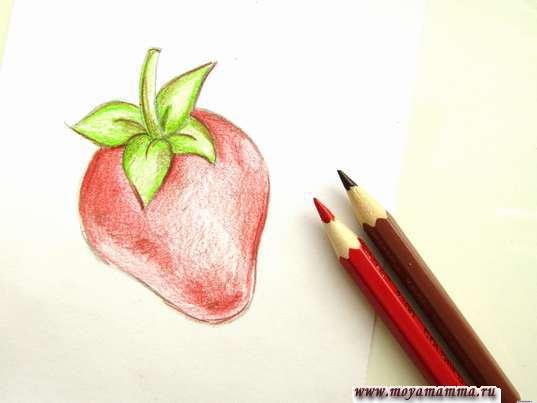 Дорабатывание рисунка летней ягоды коричневым и бордовым тоном