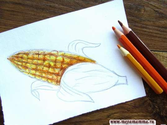 Оранжевые, желтые и коричневые тона для кукурузы