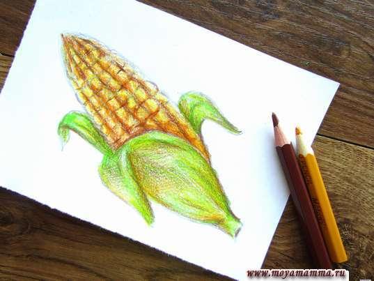 Рисование желтым и коричневым карандашом