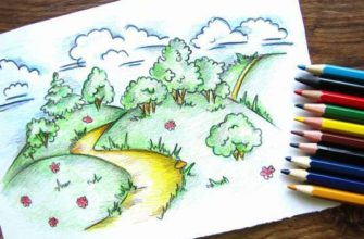 летний пейзаж карандашами