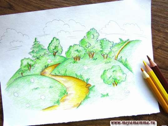 Тропинки, грибочки и стволы деревьев желтыми, оранжевыми и коричневыми тонами