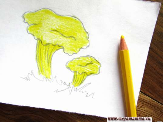 Раскрашивание желтым карандашом