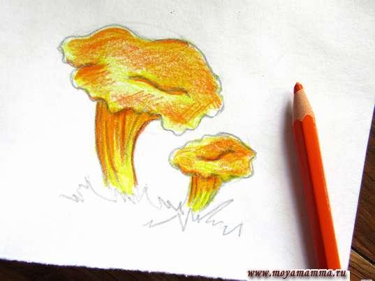 Рисование ярко-оранжевым карандашом