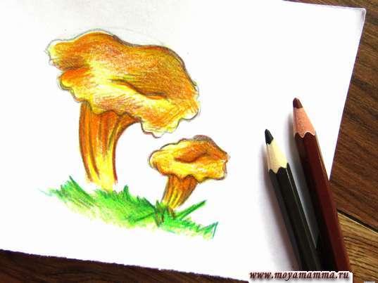 Рисование коричневыми карандашами
