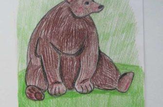медведь карандашами для детей