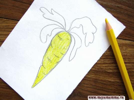 Закрашивание желтым карандашом