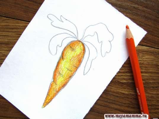 Морковь карандашами. Рисование оранжевым карандашом
